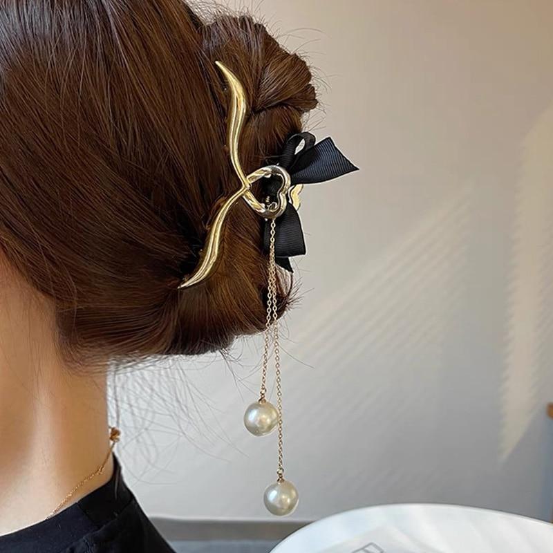 New Elegant Tassels Pearl Hair Claw Clips for Women Big Size Alloy Bow Hair Clips Hairpin Hair Crab Barrettes Hair Accessories