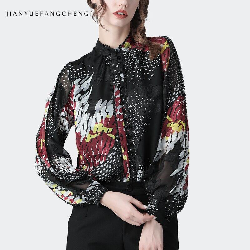 Blusa de gasa mujer moda Graffiti Polka Dots suelta de manga larga talla grande parte superior del cuello con encaje Ruffle nuevo Cardigan de primavera