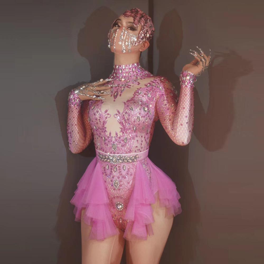 بدلة نسائية بأكمام طويلة من حجر الراين الوردي ، ملابس تنكرية ، حفلة ، حفلة ، مغنية ، حفلة ، عيد ميلاد