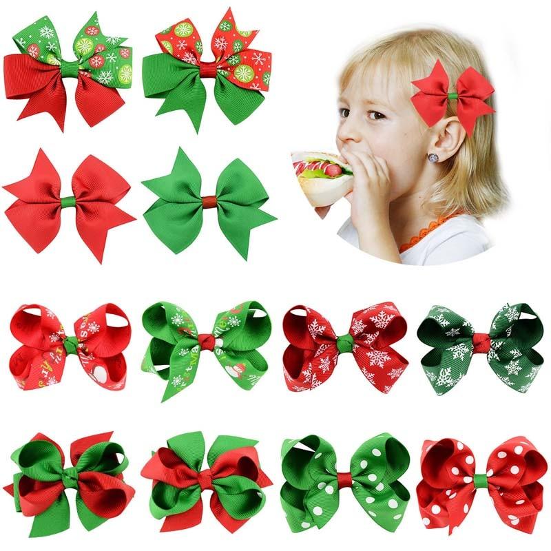 12 unids/set Navidad arco horquilla interesante verde rojo niños niña cabeza hebilla...