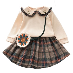 Baby Girl Spring Fall Clothes Set Toddler Kids Top+Pleated Skirt +Shoulder bag 3-Piece Suit Children Cute Fashion Princess suit
