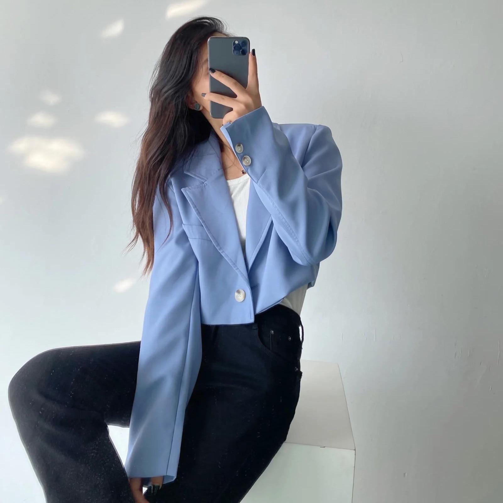 أنيقة الأزرق المرأة عادية اقتصاص سترة زر واحد كم طويل شارع العليا مكتب سيدة شيك ملابس خارجية