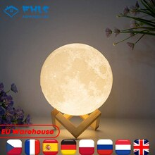 Kid Tricolor Creative Moonlight Lamp Touch Control Rechargeable 3D Print LED Light Decor Moon For Ho