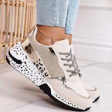 รองเท้าผ้าใบสตรี2021เสือดาวพิมพ์ Lace-Up ผู้หญิง Vulcanize รองเท้าแพลตฟอร์มกีฬาสุภาพสตรีรองเท้าผ้าใบ ...