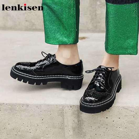Lenkisen couro genuíno cores misturadas sapatos de lazer dedo do pé redondo med saltos rendas até moda streetwear moda jovem senhora bombas l2f1