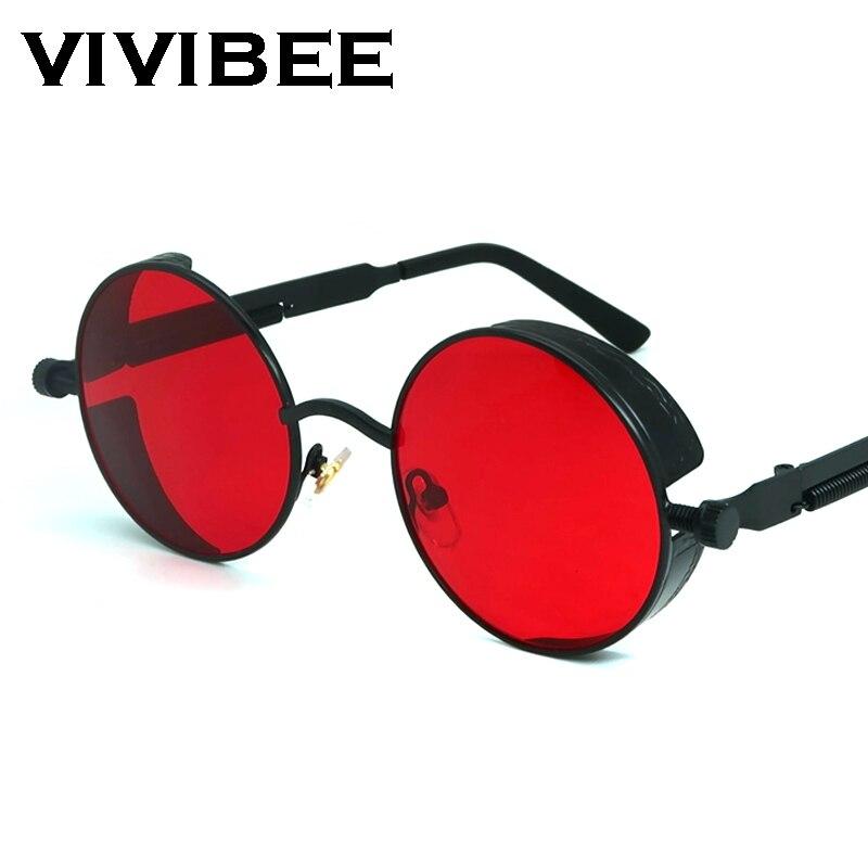 VIVIBEE винтажные красные солнцезащитные очки в стиле стимпанк, мужские круглые солнцезащитные очки в стиле панк из сплава металла в стиле ретро, женские и мужские очки 2020, мужские очки в готическом стиле