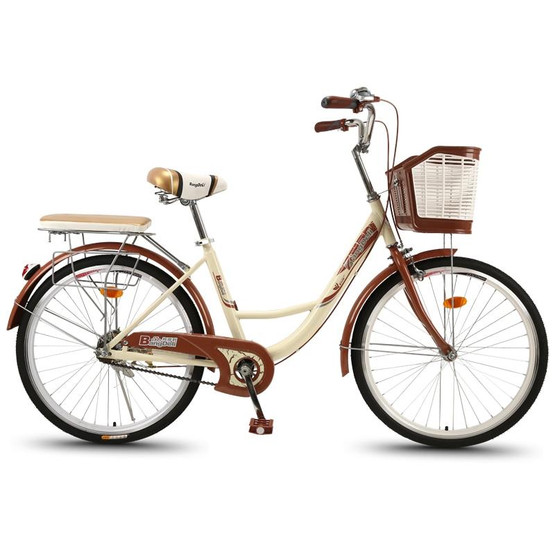 دراجة نسائية 24 بوصة للبالغين عادية الركاب دراجة المدينة الرجعية العمل خفيفة الوزن الكبار الذكور والإناث طالب سيدة سيارة