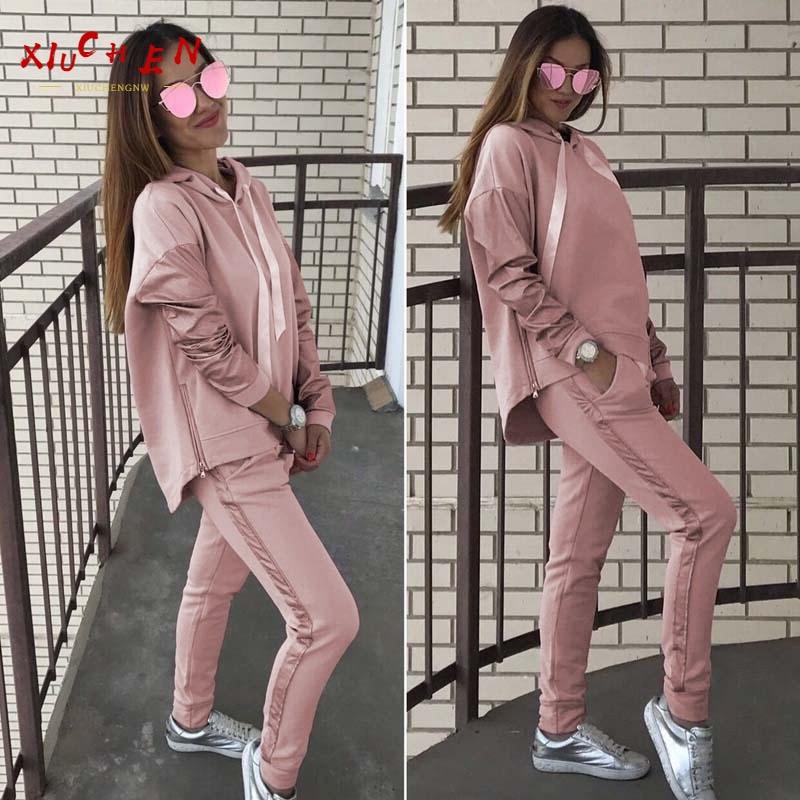 Conjunto de 2 piezas de Sudadera con capucha para mujer, conjunto de Sudadera con capucha, Jersey, abrigo completo, pantalones, traje deportivo rosa, abrigo de invierno cálido y transpirable
