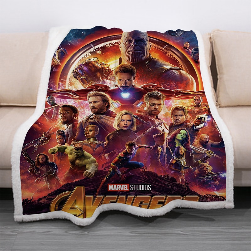 Marvel Avengers Captain America Sherpa Blanket Throw Thick Double-layer Soft Plush Avengers Endgame Iron Man 3d Printing Blanket
