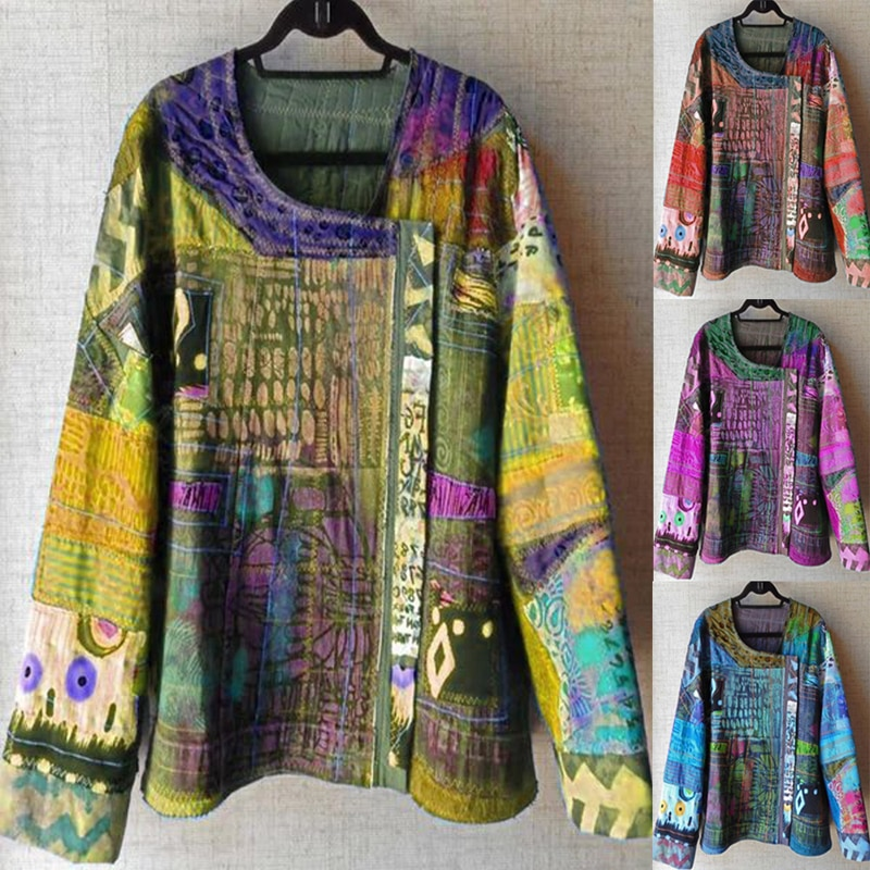 Women Blouse Plus Size Ethnic Style Long Sleeve Tunic Tops Elegant Ladies O-Neck Casual Print Personality Female Clothing