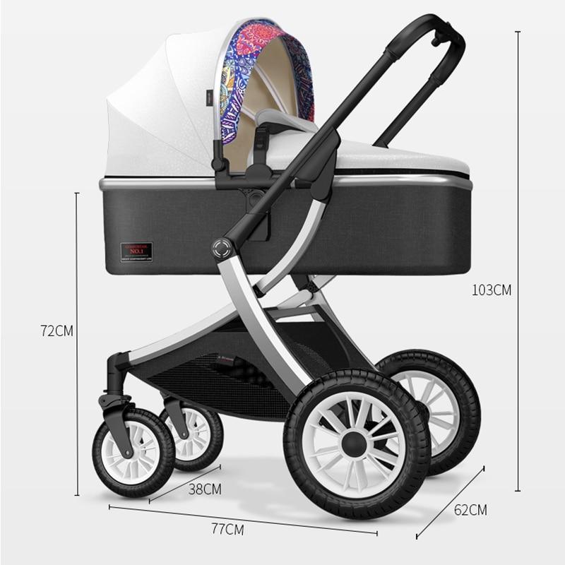 2021 upgrade X-type stroller, high landscape baby stroller, multi-function one-key storage, reclining car, light carrying belt