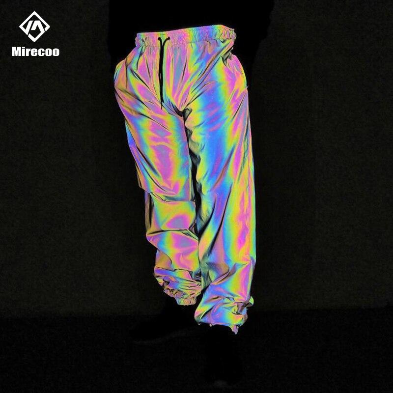 Laser Reflective Baggy Harem Pants Men Rainbow Joggers Pants Men Trousers Harajuku Hip Hop Sweatpants Streetwear Drawstring 2019
