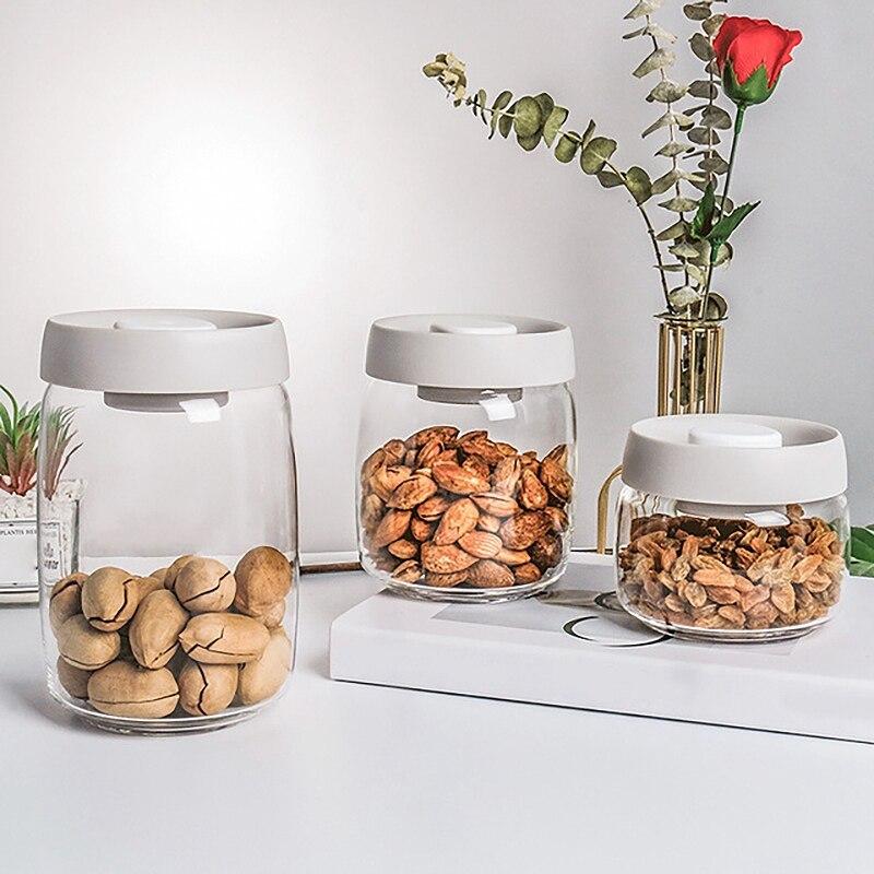 مجموعة مرطبانات التخزين المطبخ الختم ، الجرار الزجاجية مع عبوات زجاجية بغطاء فراغ للوجبات الخفيفة والقهوة والمكسرات مجموعة 3 جرة