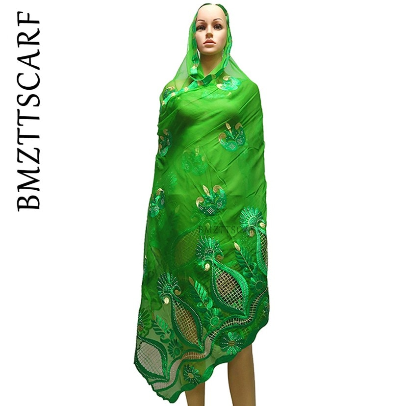 2020 nueva bufanda de chifón para mujeres africanas, pañuelo para la cabeza para los musulmanes, chales de oración, pañuelos bordados BM981