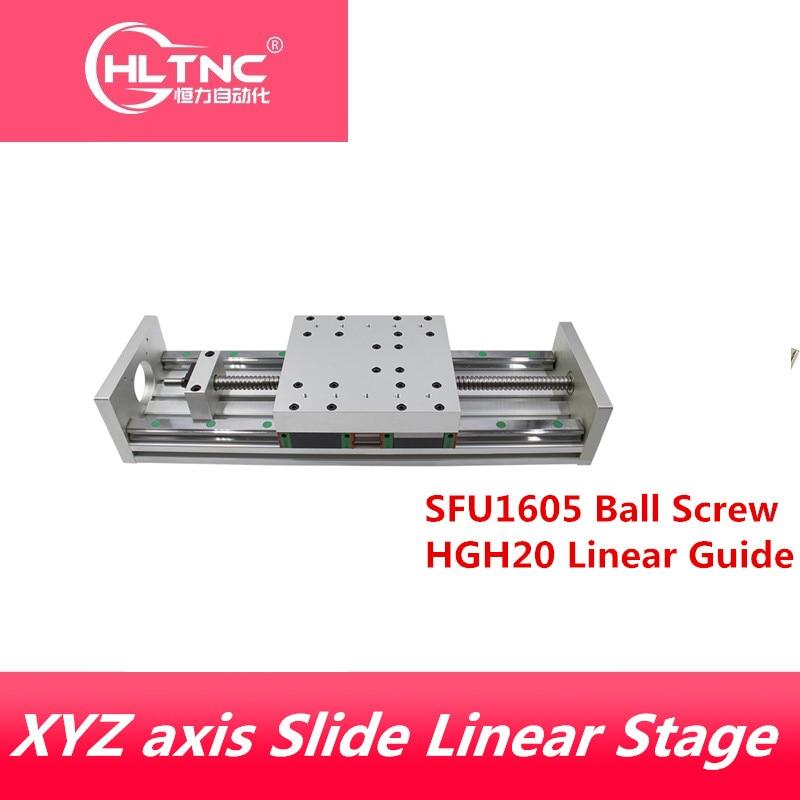 XYZ achsen Slide Linear Bühne SFU1605 Ball Schraube + HGH20 Linearführung Geeignet für Name23/34 stepper/Servo motor für CNC maschine