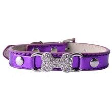 Collier en cuir strass forme os pour chien   Collier pour chien Teddy, fournitures pour chien de compagnie, rouge rose bleu violet or