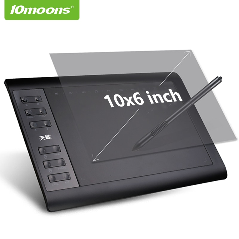 [해외] 10moons-그래픽 드로잉 태블릿 8192 레벨, 10x6 인치, 디지털, 펜 충전 필요 없음