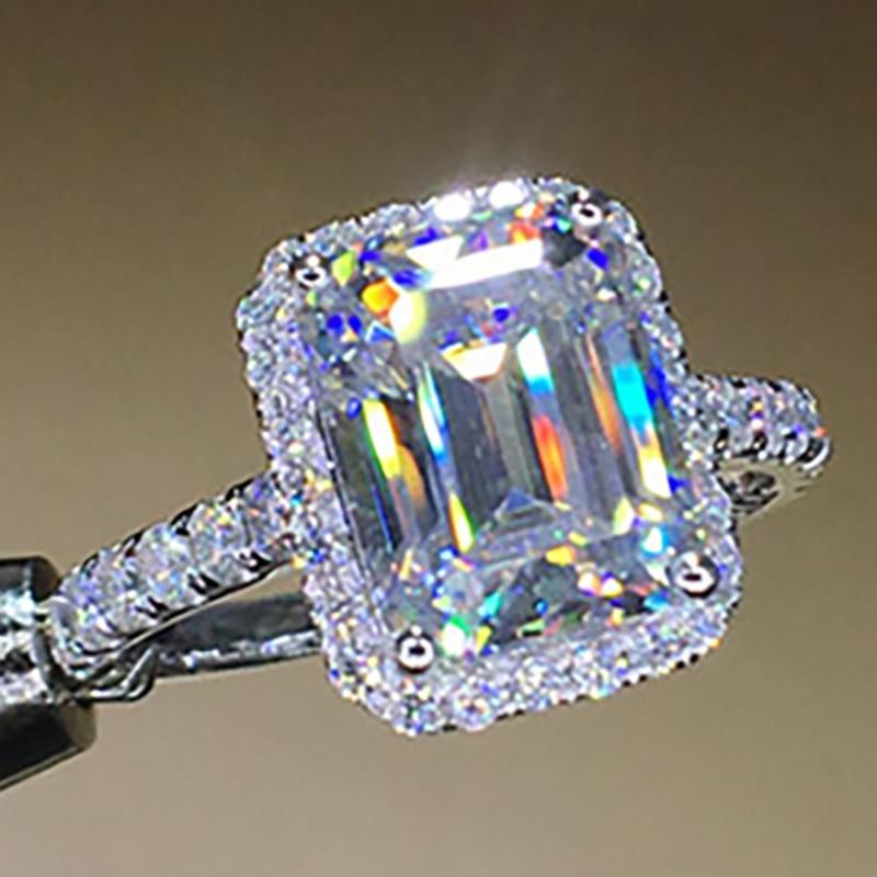 14K oro blanco 585 8 10 quilates Esmeralda con corte en rectángulo anillo diamante anillo mujeres boda aniversario anillo de compromiso