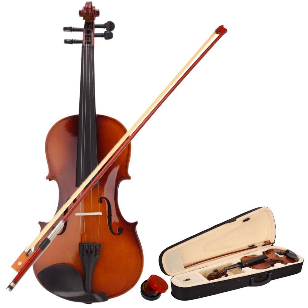 Новый 4/4 полный Размеры натуральные акустические скрипка с чехол Лук канифоль для любителей музыки Beiginner 4-струнный инструмент