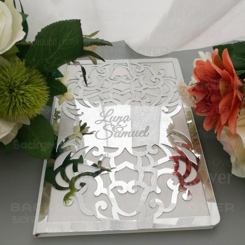 Libro de invitados de boda personalizado con cubierta frontal de espejo firma personalizado grabar fecha nombres álbum regalo de fiesta nupcial decoración G001