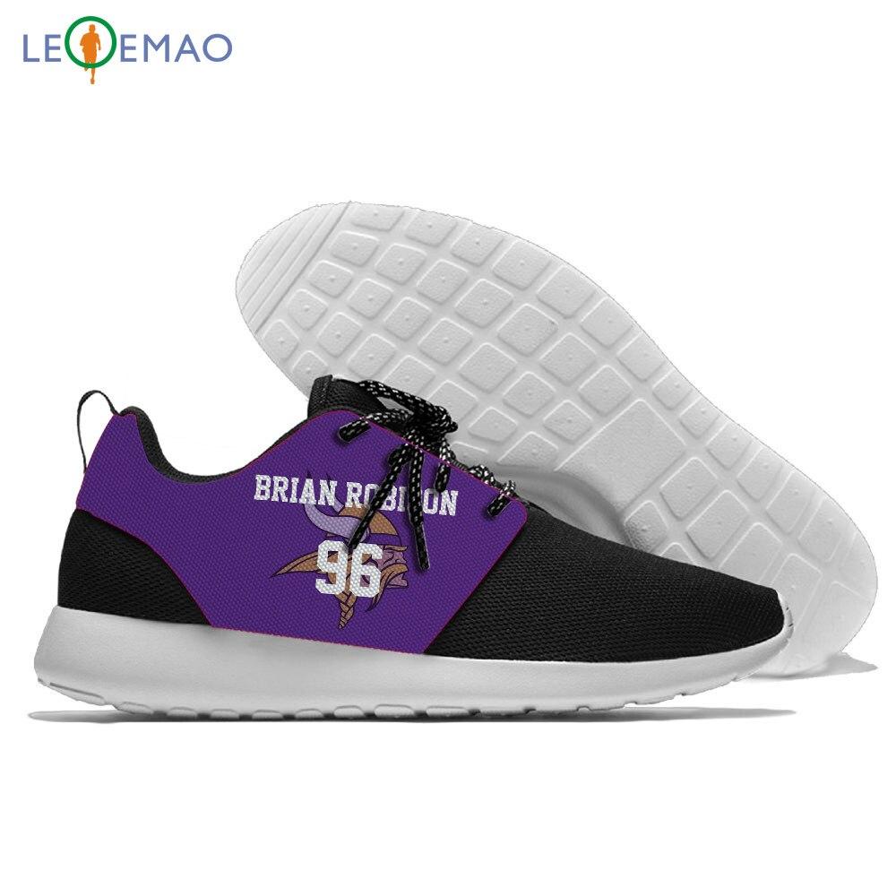 Personalidade executando viking sapatos esportivos confortable jogging atléticos do estilo minnesota rendas-up ginásio tênis casual