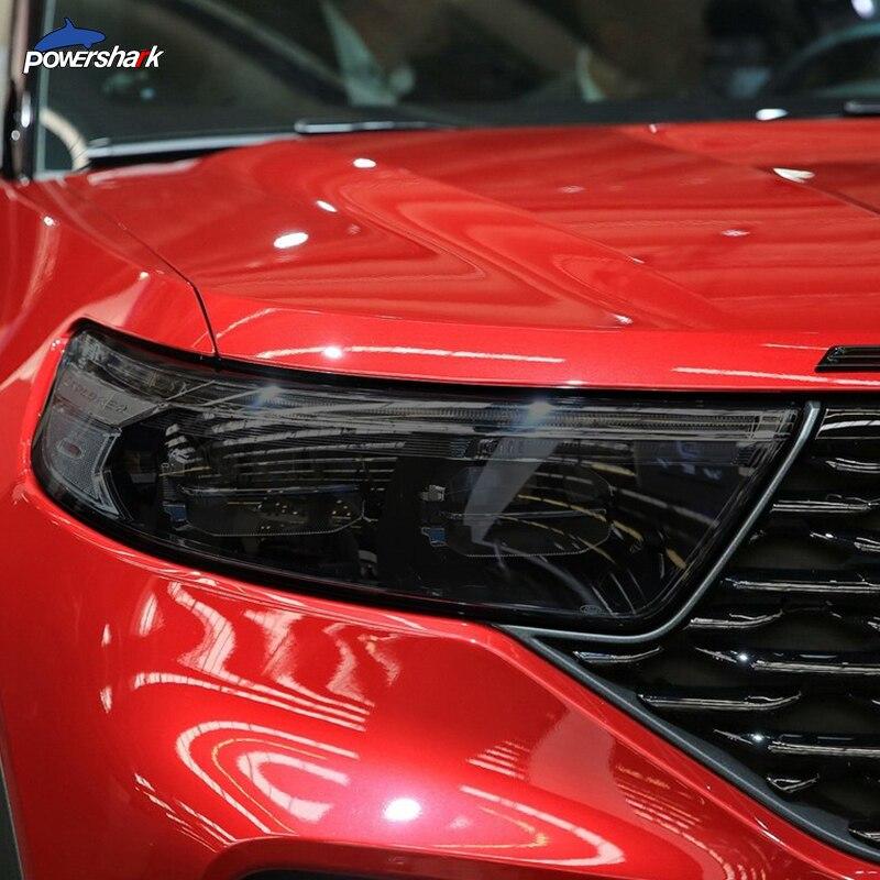 2 pçs farol do carro matiz preto proteção de película protetora transparente etiqueta tpu para ford explorer 2020-on u625 acessórios