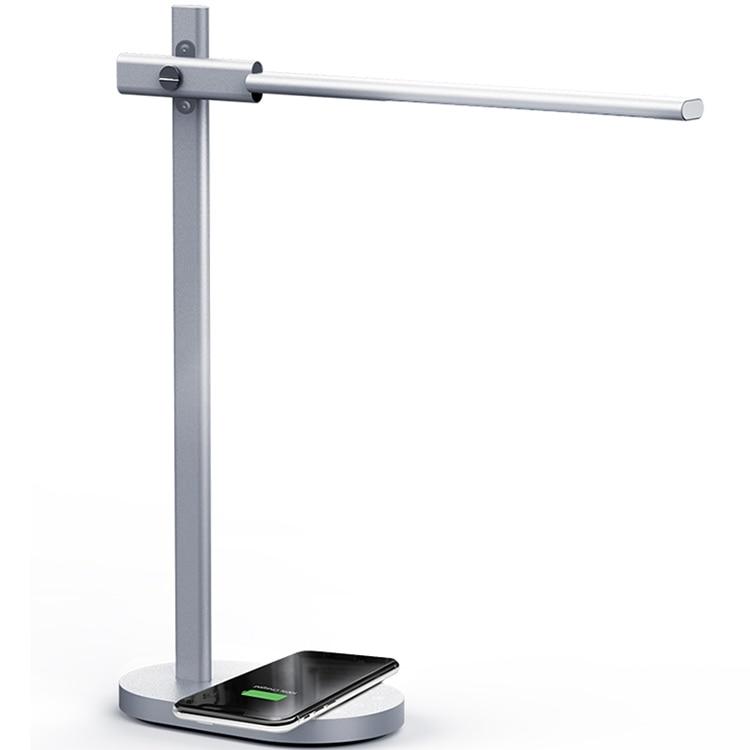 Светодиодный настольный светильник с затемнением, настольная лампа с QI беспроводным зарядным устройством, USB выход, регулируемый светильник, гибкий современный офисный Настольный светильник