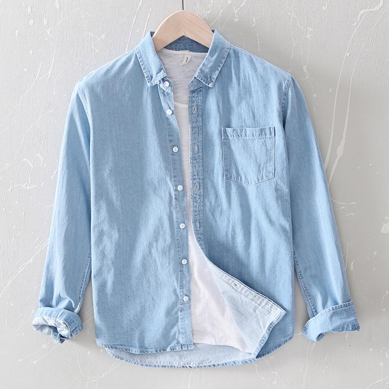 Excellent 100% Cotton Soft Cowboy Shirt Men Turn-down Collar Long Sleeve Casual Denim Shirts