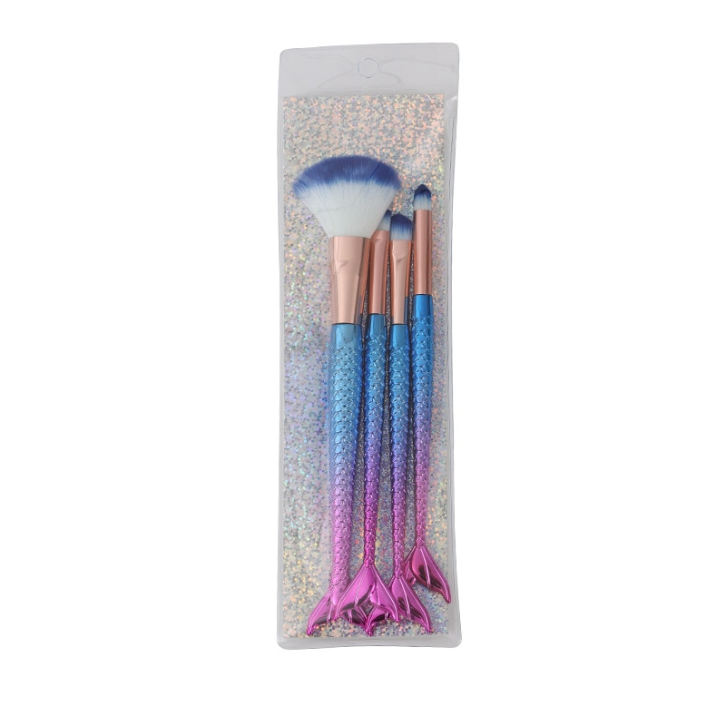 Luxury Mermaid Makeup Brushes Set 4PS/Set Foundation Powder Eye Shadow Blush Lip Make Up Brush Beauty Face Cosmetic Tool Kit