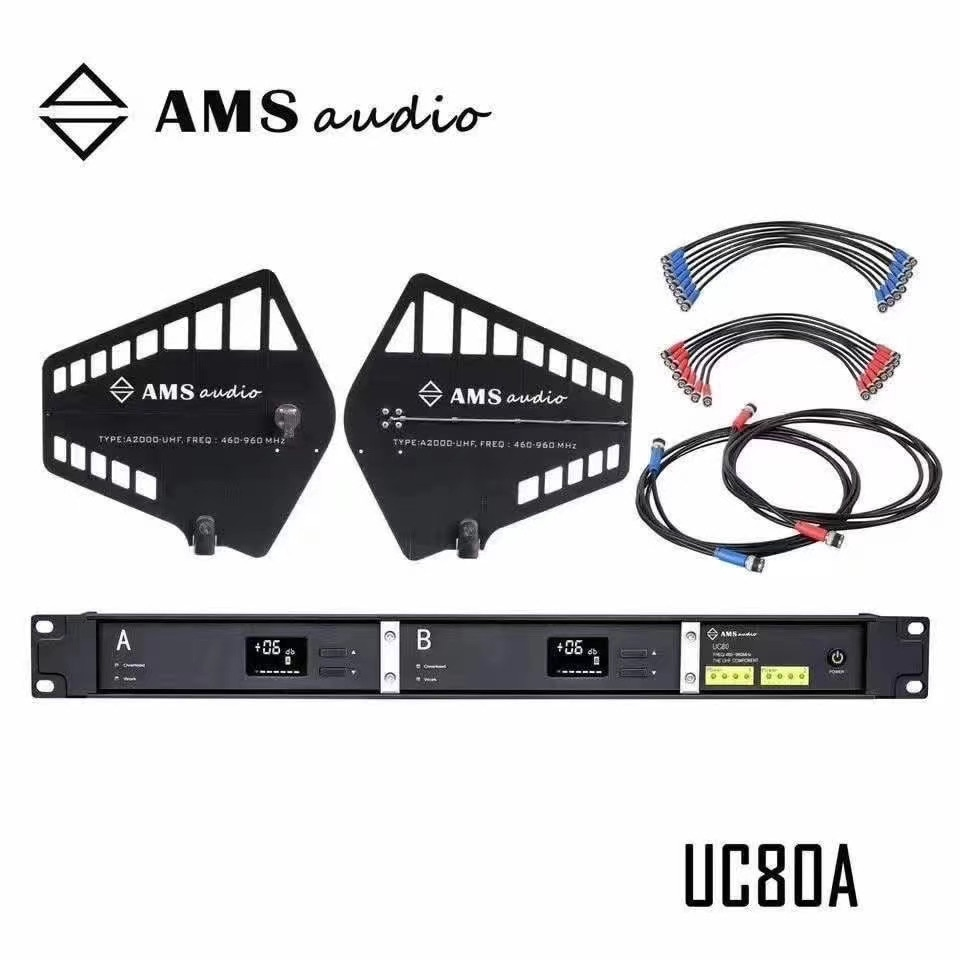 AMS نظام توزيع هوائي UC80A 12 فولت إشارات RF الداعم Spilter Segnale موزع مكبر للصوت ل ميكروفون لاسلكي UHF
