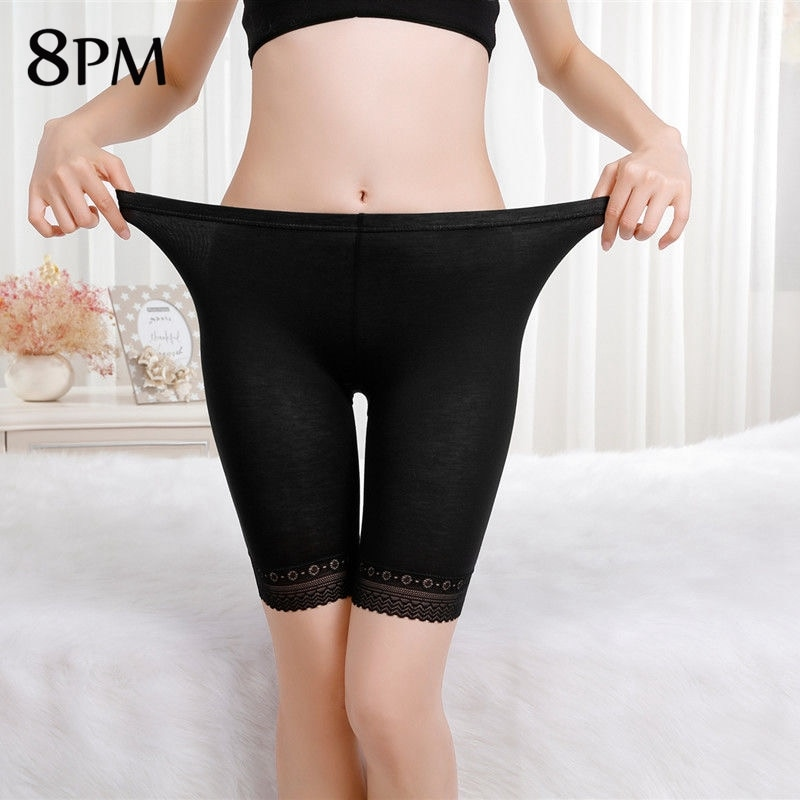 Summer Modal Shorts Plus Size Skin Colour Black Capris Sexy Lace Anti Chafing Thigh Safety Shorts Bo