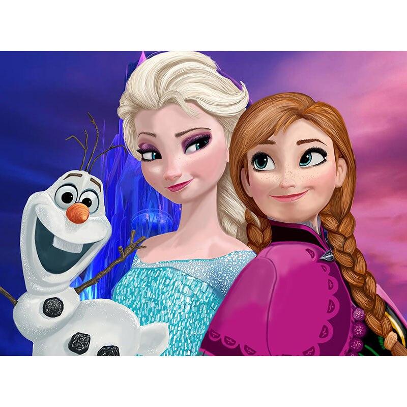 Pintura de diamante Elsa Anna, Princesa de dibujos animados, Diamante redondo completo, punto de cruz, bordado de mosaico de piedras de estrás