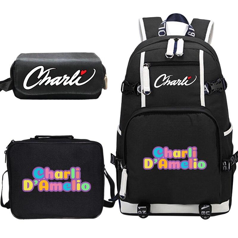 Mochila Charli DAmelio, 3 unids/set, Mochila de lona, bolsos para el almuerzo, estuche de lápices, bolsas escolares para adolescentes, Mochila de viaje