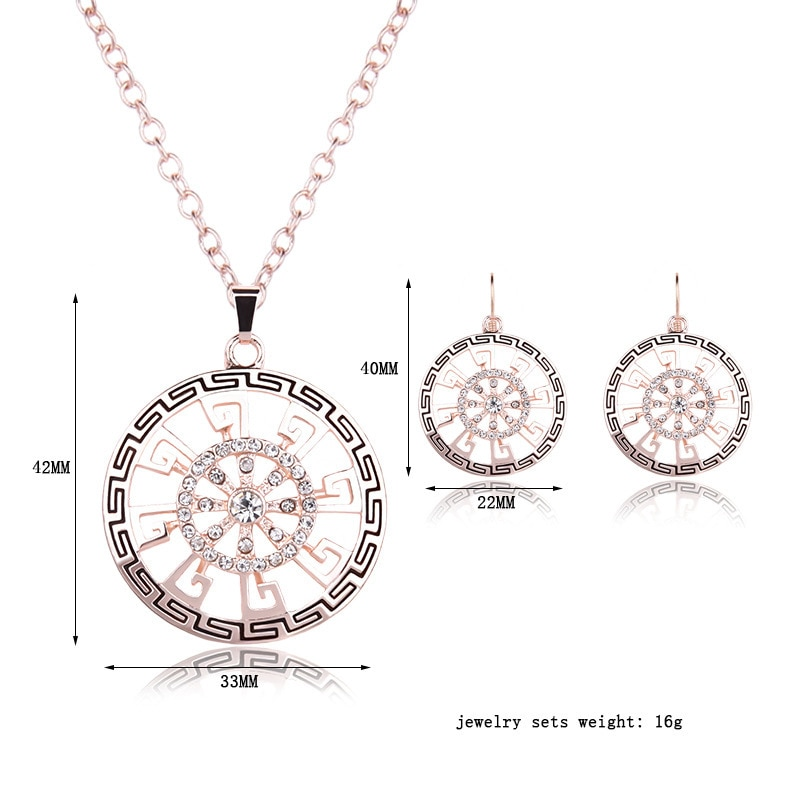 Dshou58-طقم إكسسوارات ريترو من قطعتين ، سبيكة مطلية بالكهرباء ، طقم مجوهرات مرصع بالكريستال