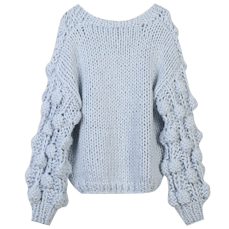 SHUCHAN Light Blue Knit Sweater Women Cropped Cardigan V-Neck Casual  Single Breasted Thick Winter Vetements Femme Hivers 2021 enlarge