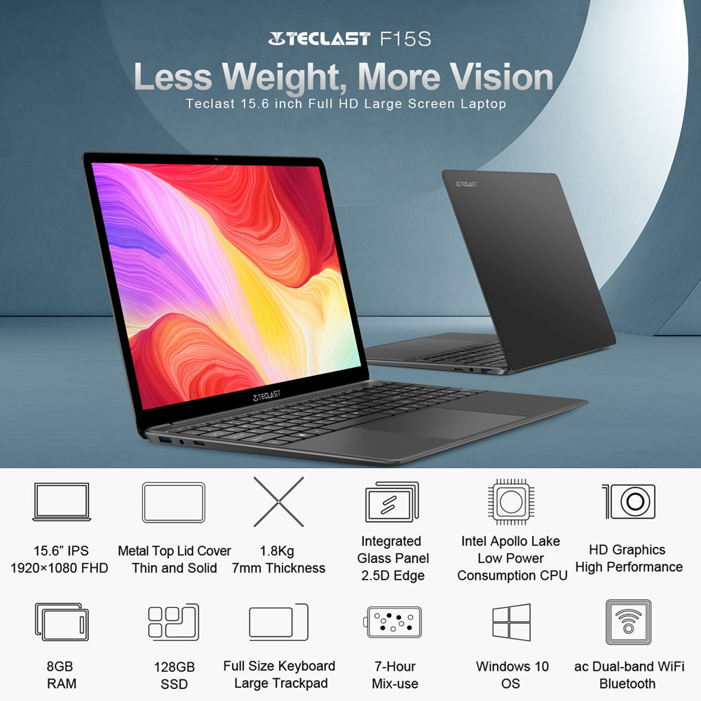 Newest F15S 15.6 Inch Laptop Windows 10 Notebook 1920x1080 Intel Apollo Lake Laptops 8GB RAM 128GB SSD Dual Wifi HDMI