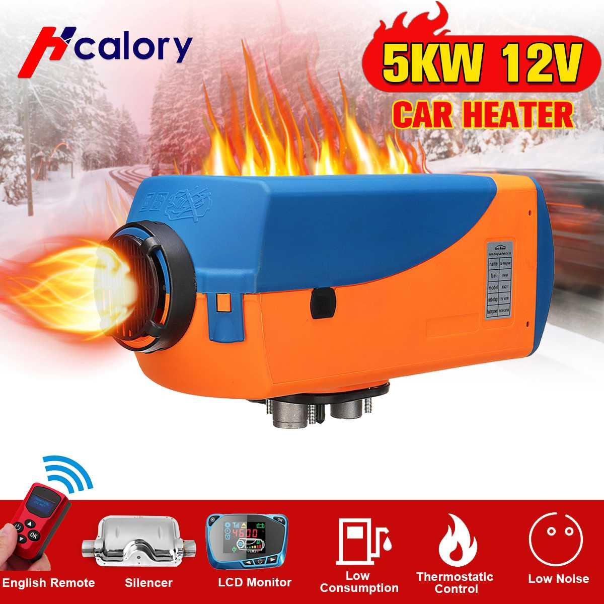 Interruptor inteligente de calefacción para coche de 5kW y 12V con LCD + Control de temperatura + calentador silencioso para invierno, para todoterrenos, camiones, barcos, camionetas y camionetas