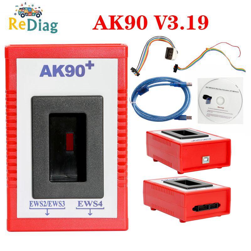 Programador clave AK90 + para BMW EWS2/3/4 lector de códigos clave V3.19 última versión AK90 Key Maker para BMW Herramienta de programación