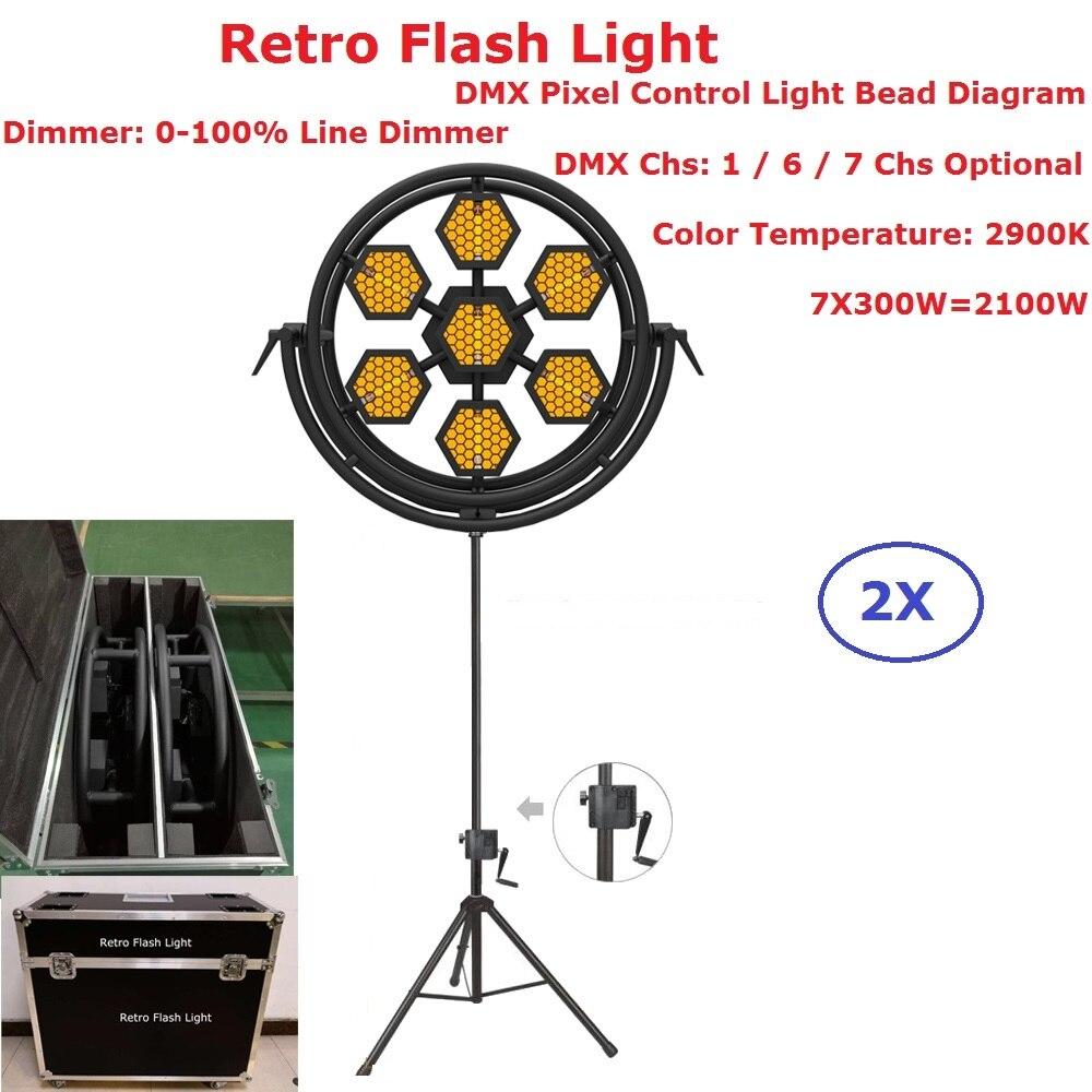 Paquete de 2XLot Flightcase luces estroboscópicas de escenario 7X300W lámpara halógena Retro Flash luz hexagonal o redonda opcional 1/6/7 canales DMX