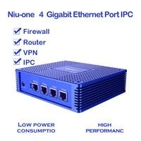 niu one gigabit 4 port ipc firewall vpnrouter smart home mini computer 4 intel lan 2usb 1hdmi 1vga