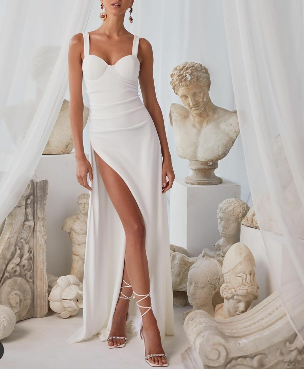 Promo Sexy Long Sweetheart Wedding Dresses with Slit Mermaid Corset Back Ivory Crepe Brautkleider Robes de Soirée for Women