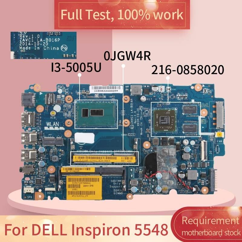 لديل انسبايرون 5548 LA-B016P 0JGW4R SR244 I3-5005U 216-0858020 DDR3L دفتر اللوحة اللوحة اختبار كامل 100% العمل