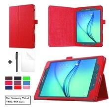 Étui pour tablette pour Samsung Galaxy Tab A 9.7 SM-T550 SM-T551 SM-T555 T550 sommeil intelligent réveil funda housse support avec stylo + Film