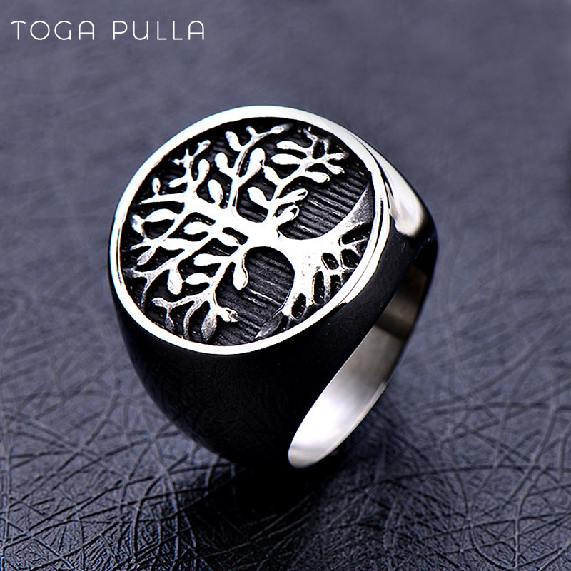 Cool 316L Stainless Steel Mens Tree of Life Signet Ring Men Simple Nordic Viking Rings Male Viking Amulet Punk Biker Ring