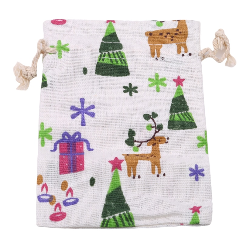 Santa Elk-medias navideñas de tela no tejida para el hogar, Adornos de...