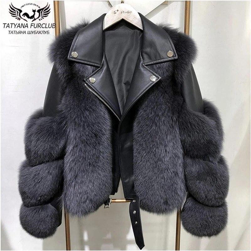 Winter Fashion Women Real Fox Fur Coats With Genuine Sheepskin Leather Whole skin Natural Fox Fur Jacket Luxury Outwear 2020 New