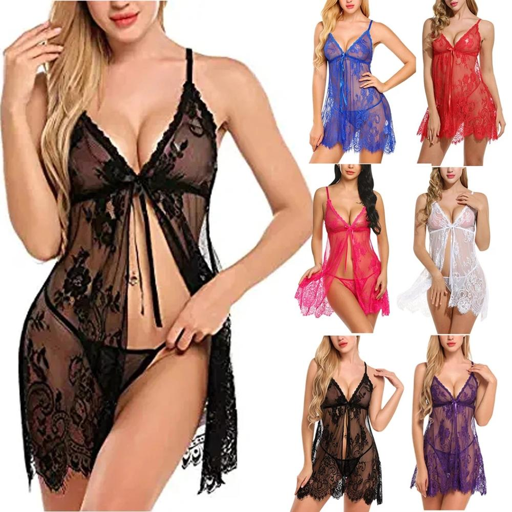 2PCS Sexy Lingerie See Through Lace Floral Deep V-Neck  Push-Up Sleeveless Cardigan +Sexy Thong Exotic Sets Cекс purple tease v neck floral lace trim robe with thong