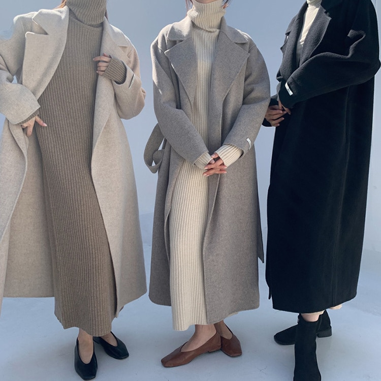 Korean Trench Coat Chic Autumn French Lapel Loose Lace Up Waist Over Knee Long Coat Cardigan Tweed