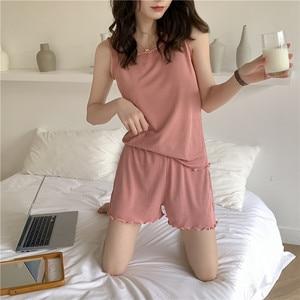 Женский комплект для дома, летний хлопковый легкий дышащий жилет с деревянными ушками и шортами, приятный для кожи, высокая эластичность