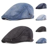 2020 new spring denim beret hat for men women casual unisex jeans beret cap fitted sun cabbie duckbill flat cap gorras